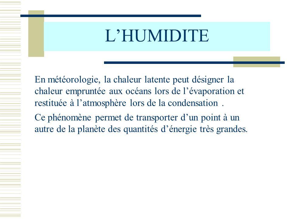 LHUMIDITE 2) Teneur en vapeur deau de lair atmosphérique a) Tension de vapeur (réelle) Lair atmosphérique est un mélange dair sec et de vapeur deau Loi de DALTON : Pour un gaz constitué de plusieurs éléments Pression Totale = somme des pressions partielles Pression atmosphérique = pression partielle de lair sec + pression partielle de la vapeur deau : P = Pa + e Pa = pression de lair sec (en hPa) e = tension de vapeur (réelle) = pression de la vapeur deau dans lair (en hPa)