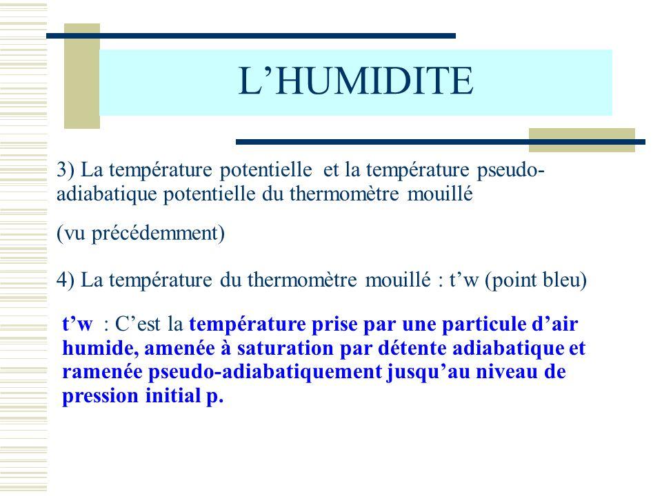 LHUMIDITE 3) La température potentielle et la température pseudo- adiabatique potentielle du thermomètre mouillé (vu précédemment) 4) La température d