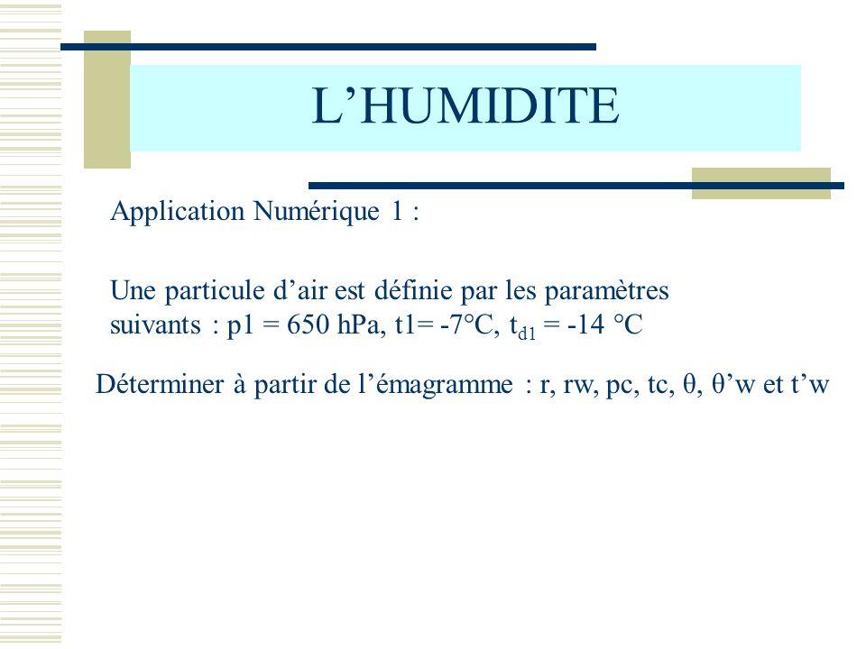 LHUMIDITE Application Numérique 1 : Une particule dair est définie par les paramètres suivants : p1 = 650 hPa, t1= -7°C, t d1 = -14 °C Déterminer à pa
