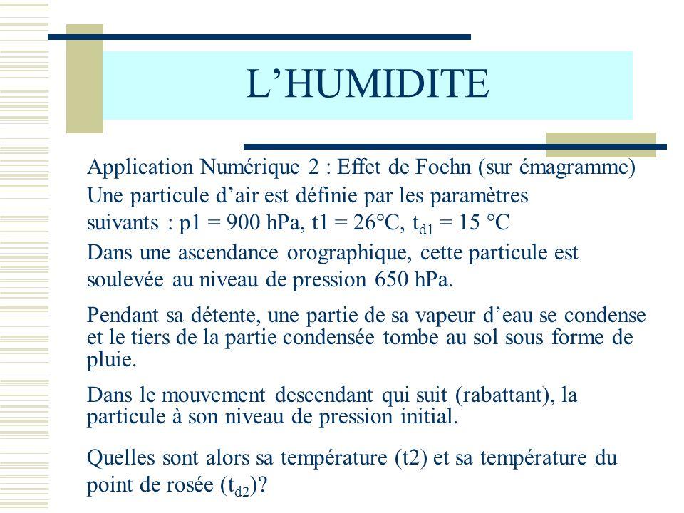 LHUMIDITE Application Numérique 2 : Effet de Foehn (sur émagramme) Une particule dair est définie par les paramètres suivants : p1 = 900 hPa, t1 = 26°