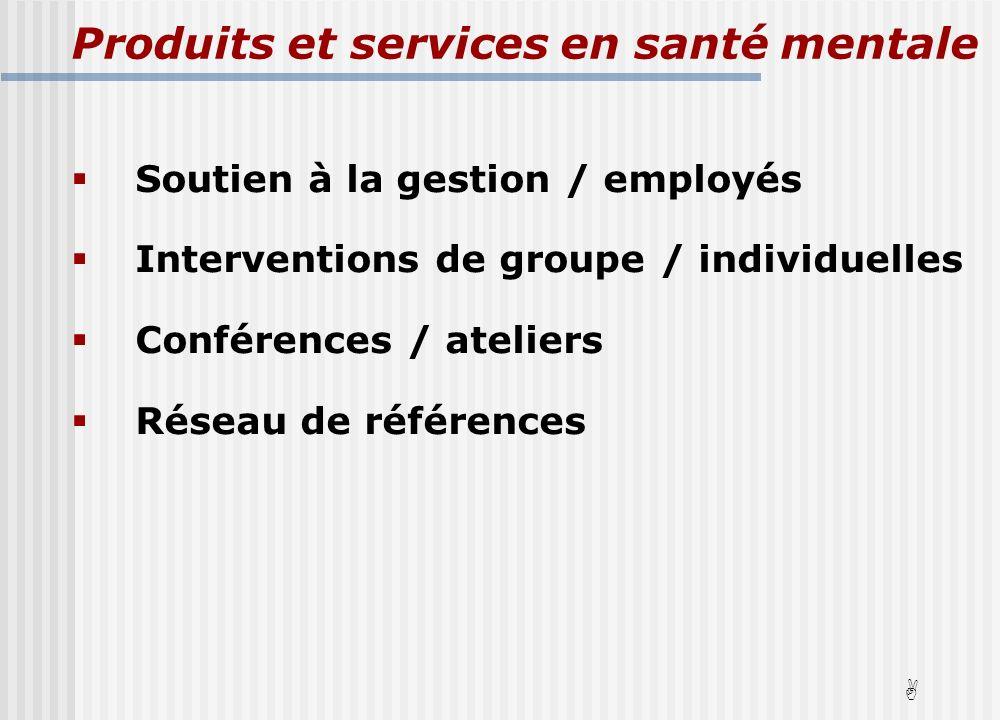Soutien à la gestion / employés Interventions de groupe / individuelles Conférences / ateliers Réseau de références A