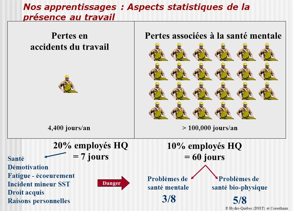 Nos apprentissages : Aspects statistiques de la présence au travail Taux de maladies personnelles tout HQ 10,7 jours/employé/an Absences 3 jours et moins 3.3 Absences plus de 3 jours 7.4 10,84 en 2000 11,18 en 2001 11,13 en 2002 10,60 en 2003 70% 30% 80% employés HQ = 1,9 jour 20% employés HQ = 7 jours 90% employés HQ = 1,5 jour 10% employés HQ = 60 jours Problèmes de santé mentale 3/8 Problèmes de santé bio-physique 5/8 Santé Démotivation Fatigue - écoeurement Incident mineur SST Droit acquis Raisons personnelles Danger Pertes associées à la santé mentalePertes en accidents du travail > 100,000 jours/an4,400 jours/an © Hydro-Québec (DSST) et Corestham