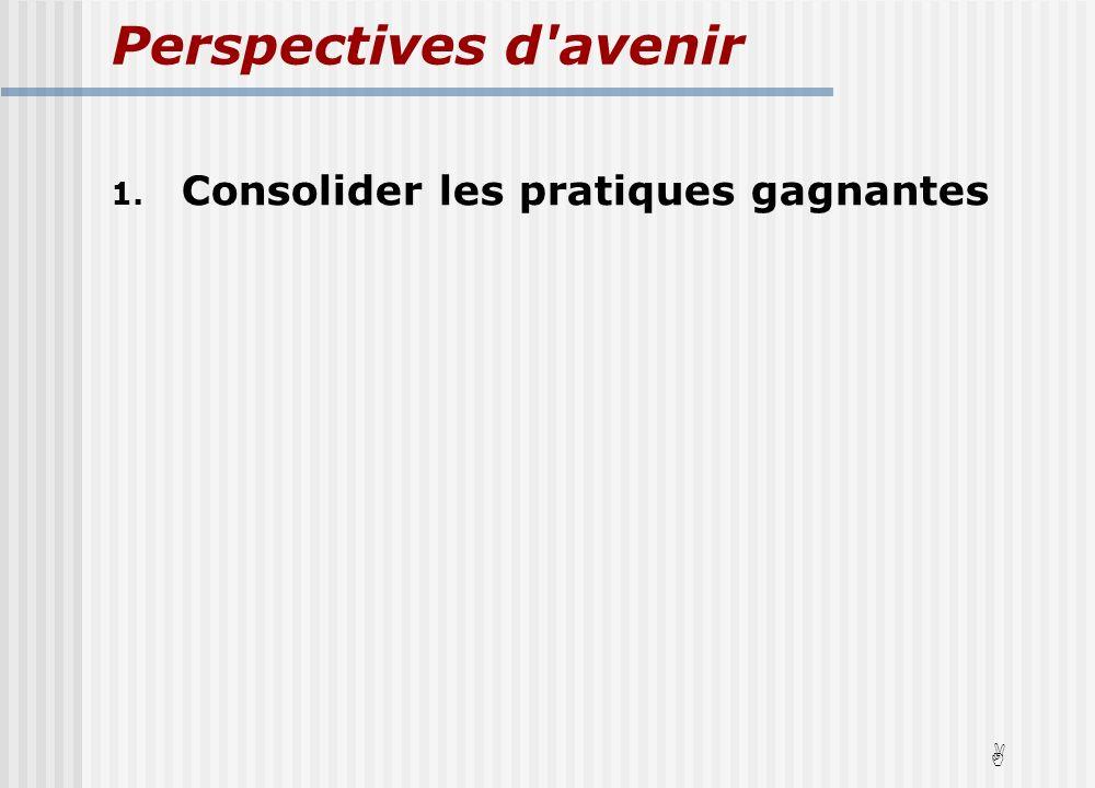 Perspectives d avenir 1. Consolider les pratiques gagnantes A