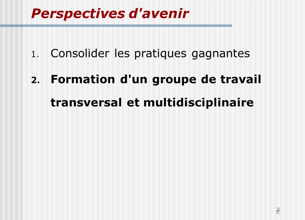 Perspectives d avenir 1. Consolider les pratiques gagnantes 2.