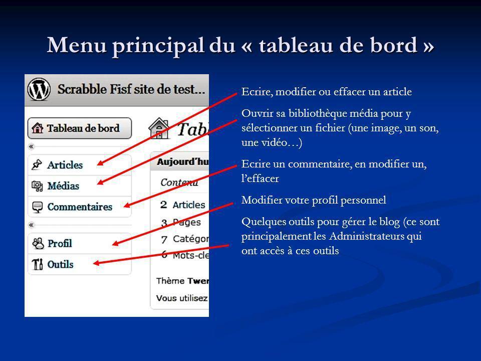 Menu principal du « tableau de bord » Ecrire, modifier ou effacer un article Ouvrir sa bibliothèque média pour y sélectionner un fichier (une image, u