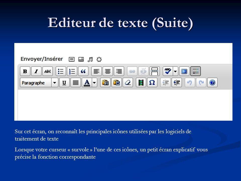 Sur cet écran, on reconnaît les principales icônes utilisées par les logiciels de traitement de texte Lorsque votre curseur « survole » lune de ces ic