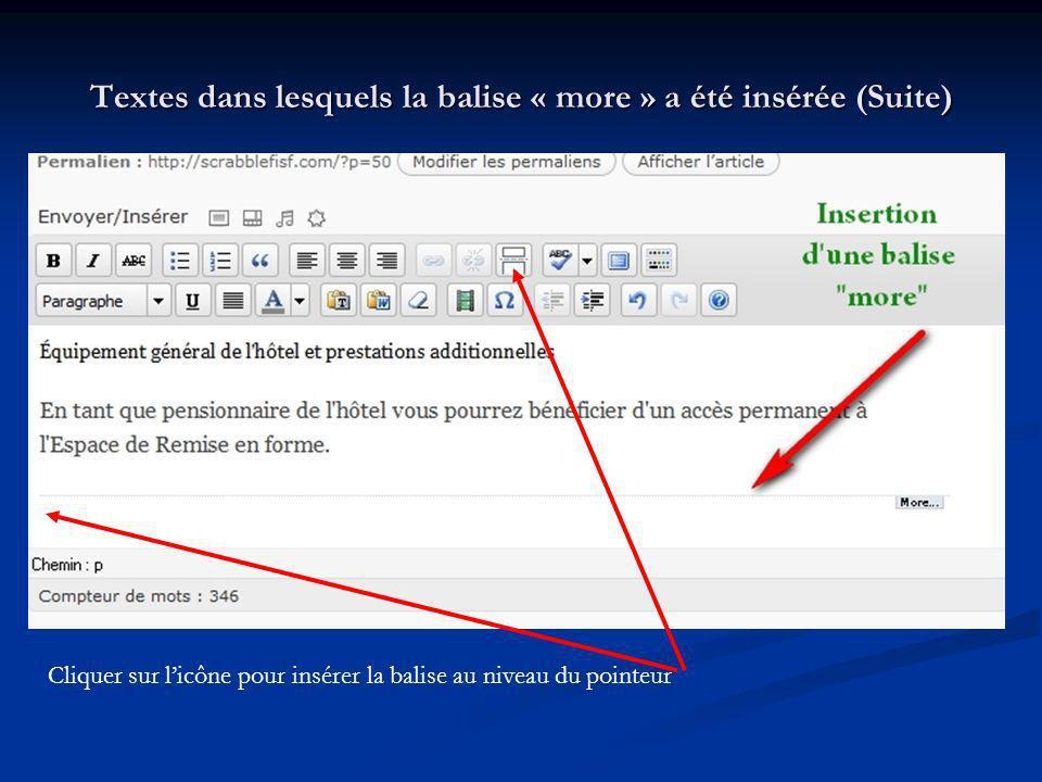 Textes dans lesquels la balise « more » a été insérée (Suite) Cliquer sur licône pour insérer la balise au niveau du pointeur
