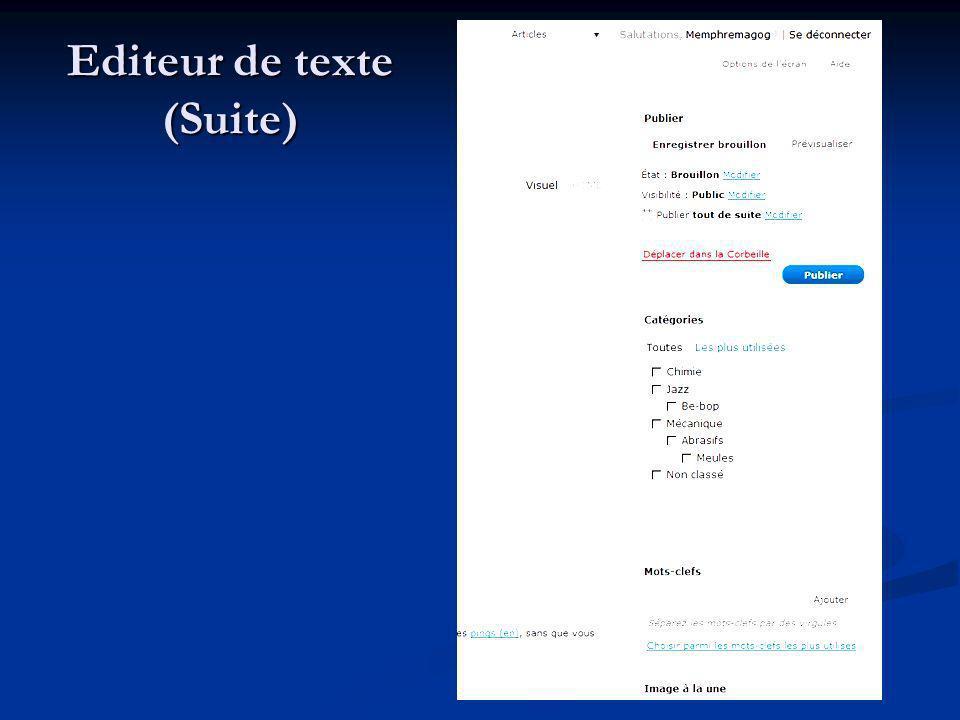 Editeur de texte (Suite)