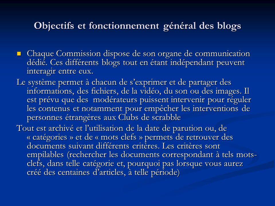 Objectifs et fonctionnement général des blogs Chaque Commission dispose de son organe de communication dédié. Ces différents blogs tout en étant indép
