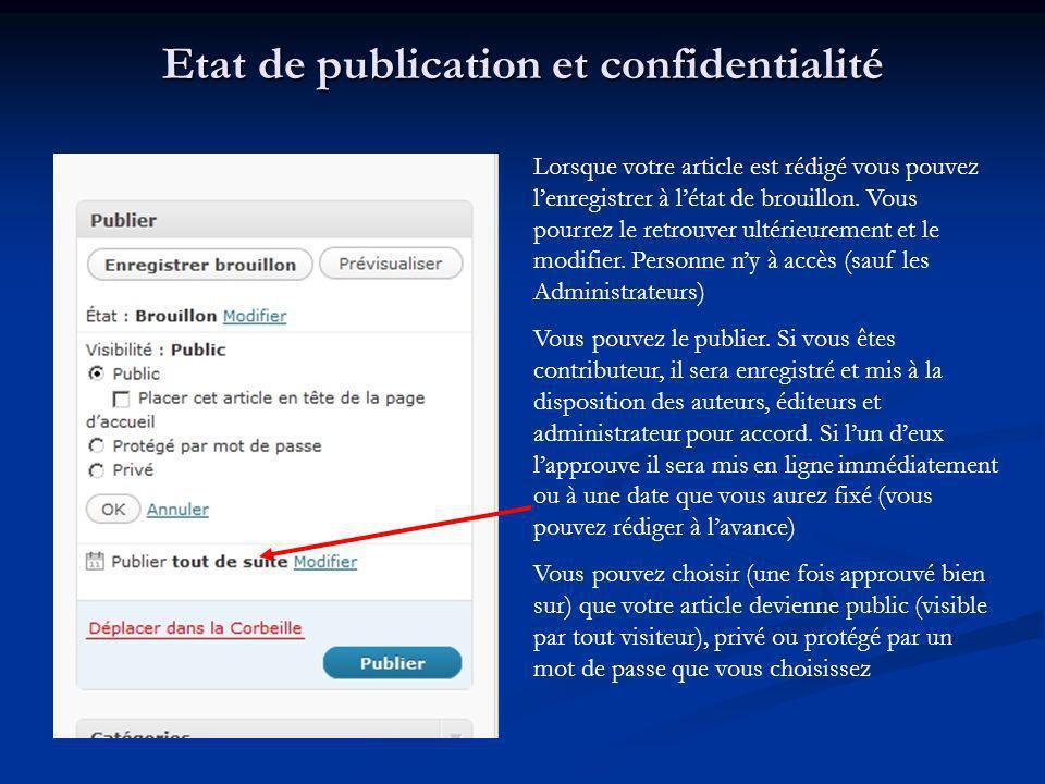 Etat de publication et confidentialité Lorsque votre article est rédigé vous pouvez lenregistrer à létat de brouillon. Vous pourrez le retrouver ultér