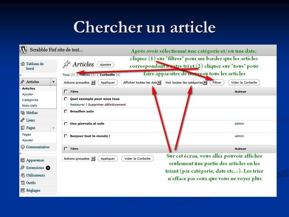Chercher un article