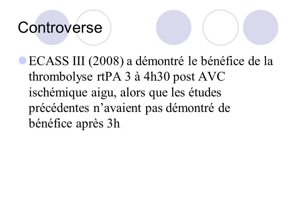 Controverse ECASS III (2008) a démontré le bénéfice de la thrombolyse rtPA 3 à 4h30 post AVC ischémique aigu, alors que les études précédentes navaien