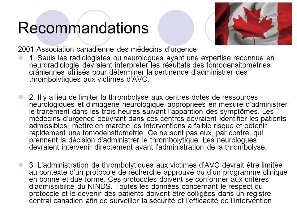 Recommandations 2002 European Medicines Agency a fait les mêmes recommandations sous conditions : 1) une étude démontrant que lalteplase pouvait être sécuritaire et efficace dans un contexte à lextérieur de celui de la recherche : SITS-MOST (Safe Implementation of Thrombolysis in Stroke- Monitoring Study) 2) une étude randomisée où lalteplase serait administrée au-delà de 3h : ECASS III (European Cooperative Acute Stroke Study III)