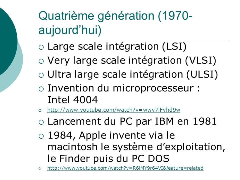 Quatrième génération (1970- aujourdhui) Large scale intégration (LSI) Very large scale intégration (VLSI) Ultra large scale intégration (ULSI) Inventi