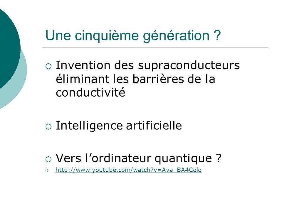 Une cinquième génération ? Invention des supraconducteurs éliminant les barrières de la conductivité Intelligence artificielle Vers lordinateur quanti