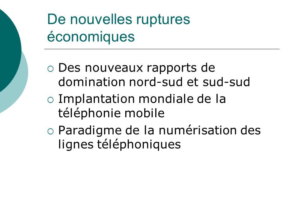 De nouvelles ruptures économiques Des nouveaux rapports de domination nord-sud et sud-sud Implantation mondiale de la téléphonie mobile Paradigme de l