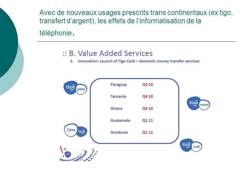 Avec de nouveaux usages prescrits trans continentaux (ex tigo, transfert dargent), les effets de linformatisation de la téléphonie.