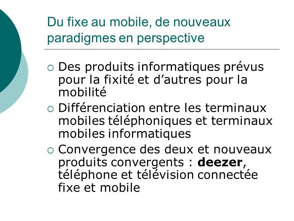 Du fixe au mobile, de nouveaux paradigmes en perspective Des produits informatiques prévus pour la fixité et dautres pour la mobilité Différenciation
