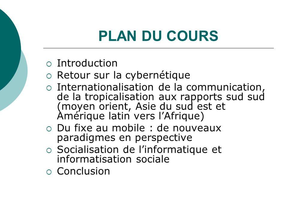 PLAN DU COURS Introduction Retour sur la cybernétique Internationalisation de la communication, de la tropicalisation aux rapports sud sud (moyen orie