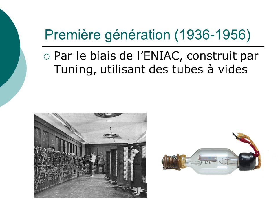Première génération (1936-1956) Par le biais de lENIAC, construit par Tuning, utilisant des tubes à vides