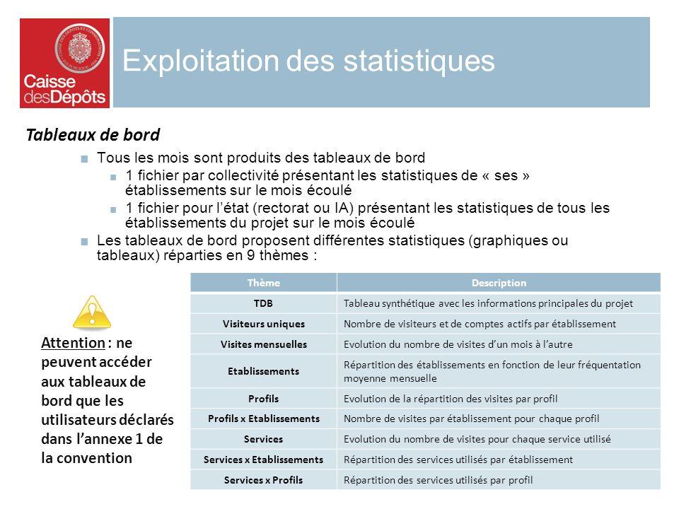 Exploitation des statistiques Tous les mois sont produits des tableaux de bord 1 fichier par collectivité présentant les statistiques de « ses » établ