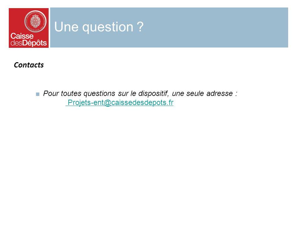 Une question ? Pour toutes questions sur le dispositif, une seule adresse : Projets-ent@caissedesdepots.fr Contacts