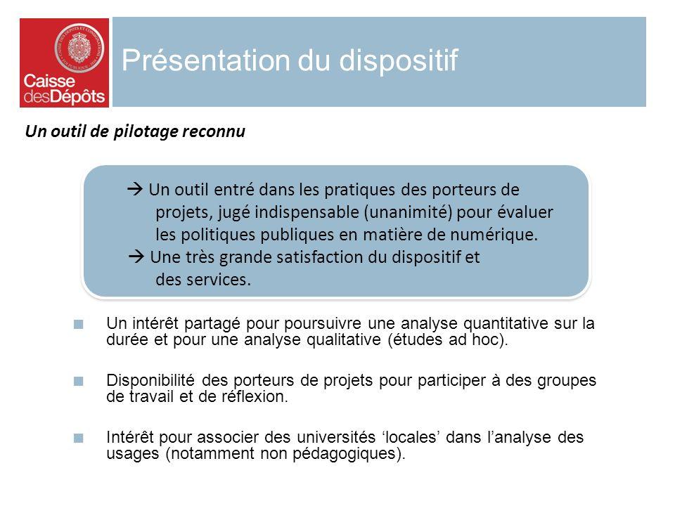 Présentation du dispositif Un outil entré dans les pratiques des porteurs de projets, jugé indispensable (unanimité) pour évaluer les politiques publi