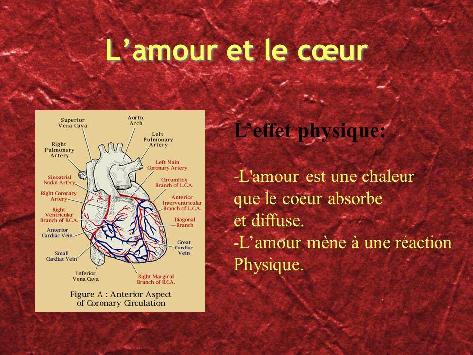 Lamour et le cœur Leffet physique: -L'amour est une chaleur que le coeur absorbe et diffuse. -Lamour mène à une réaction Physique.