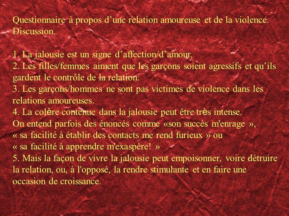 Questionnaire à propos dune relation amoureuse et de la violence. Discussion. 1. La jalousie est un signe daffection/damour. 2. Les filles/femmes aime