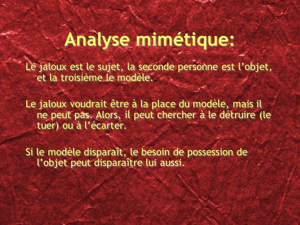 Analyse mimétique: Le jaloux est le sujet, la seconde personne est lobjet, et la troisième le modèle. Le jaloux voudrait être à la place du modèle, ma