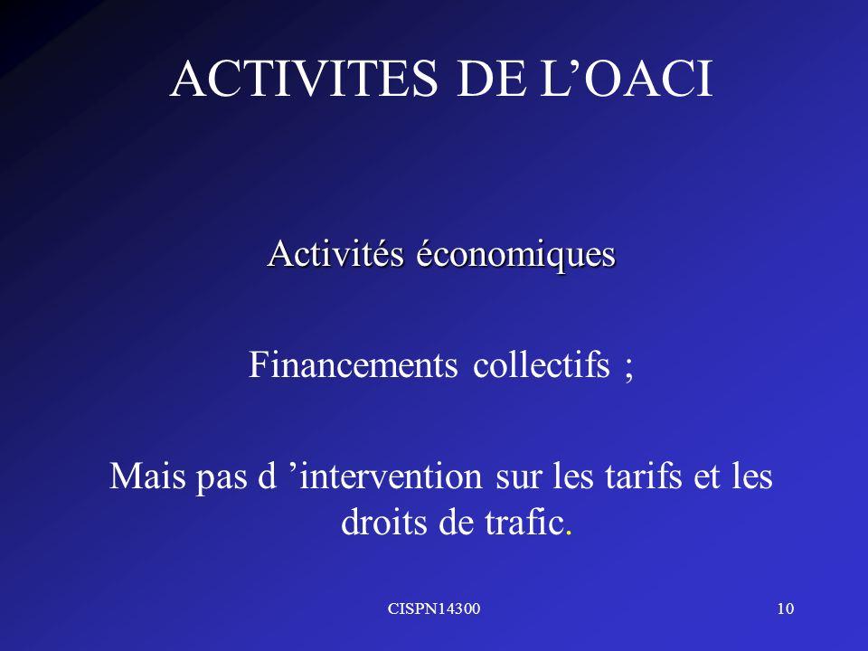 CISPN1430010 ACTIVITES DE LOACI Activités économiques Financements collectifs ; Mais pas d intervention sur les tarifs et les droits de trafic.