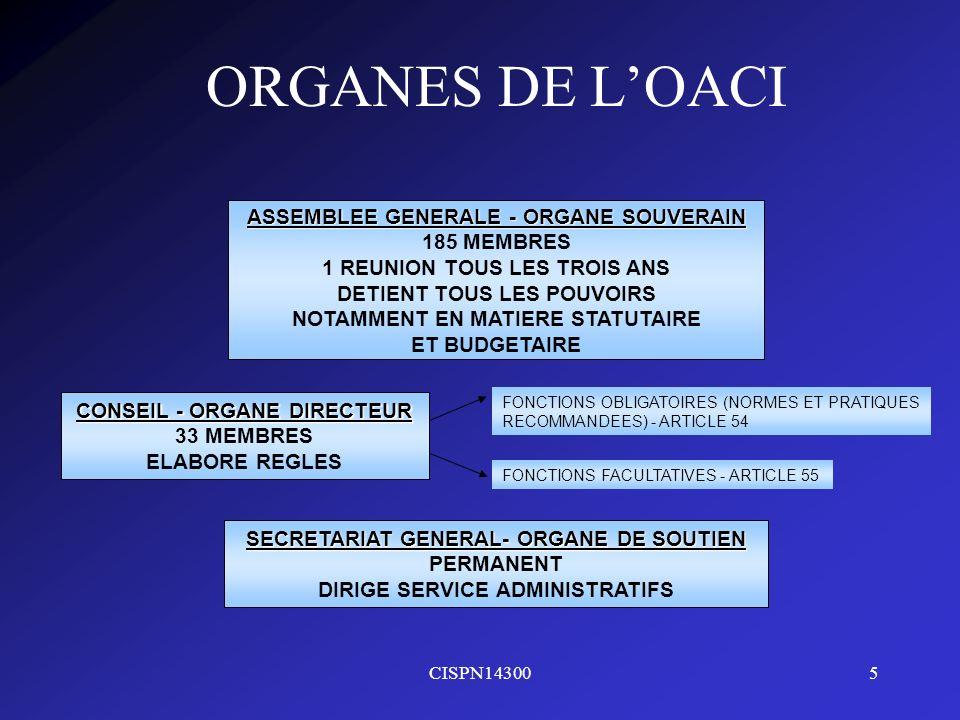 CISPN143005 ORGANES DE LOACI ASSEMBLEE GENERALE - ORGANE SOUVERAIN 185 MEMBRES 1 REUNION TOUS LES TROIS ANS DETIENT TOUS LES POUVOIRS NOTAMMENT EN MAT