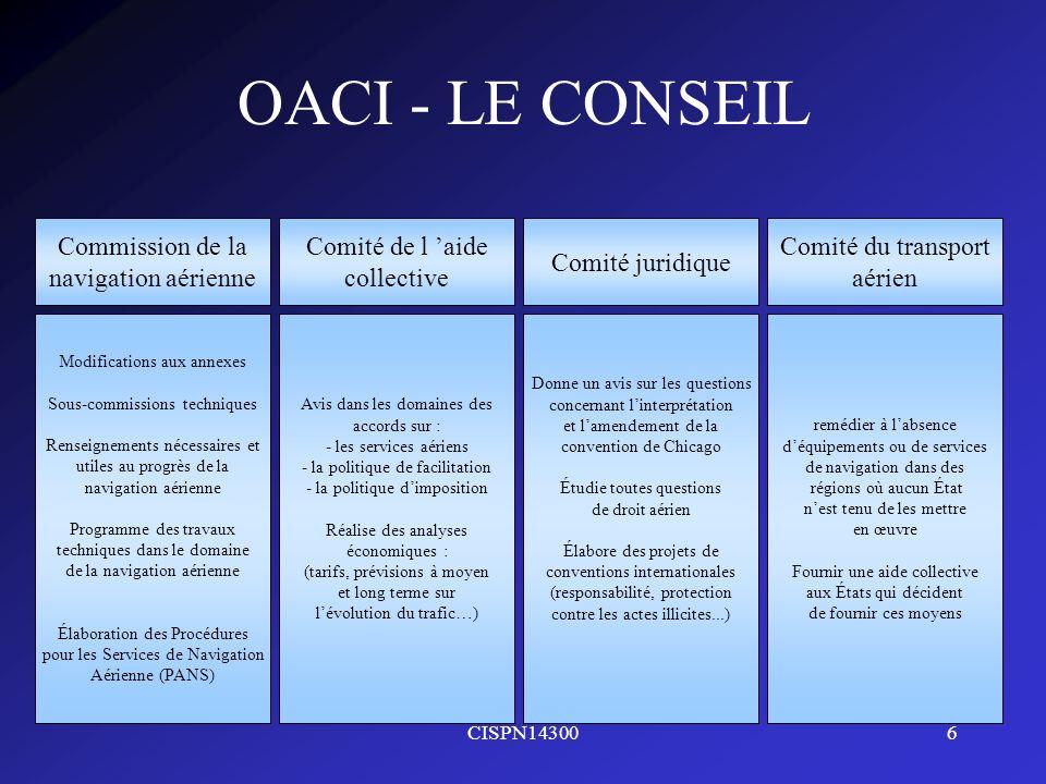 CISPN143006 OACI - LE CONSEIL Commission de la navigation aérienne Comité de l aide collective Comité juridique Comité du transport aérien Modificatio