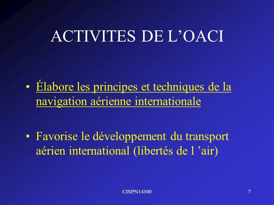 CISPN143007 ACTIVITES DE LOACI Élabore les principes et techniques de la navigation aérienne internationale Favorise le développement du transport aér