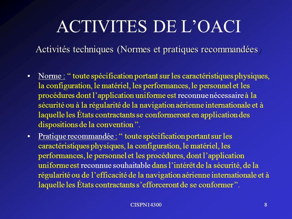 CISPN143008 ACTIVITES DE LOACI Activités techniques (Normes et pratiques recommandées) Norme : toute spécification portant sur les caractéristiques ph