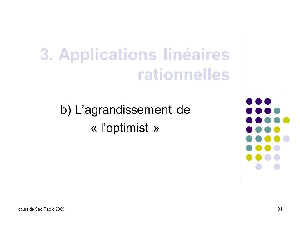 cours de Sao Paolo 2009104 3. Applications linéaires rationnelles b) Lagrandissement de « loptimist »