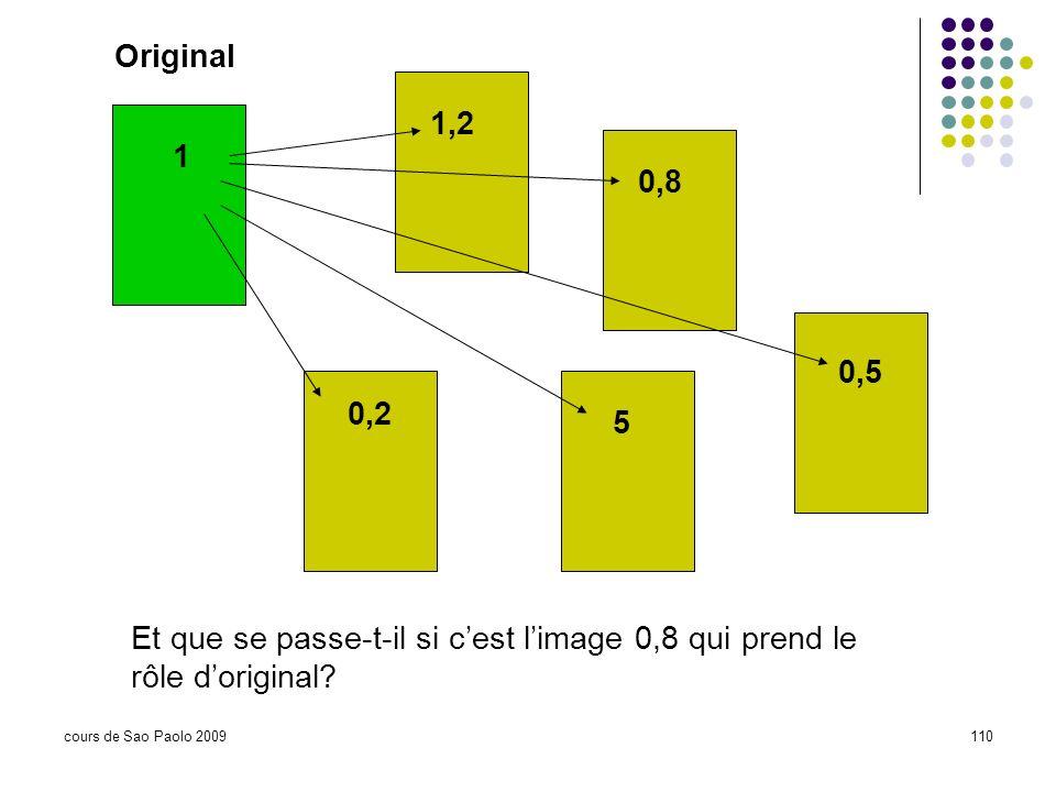 cours de Sao Paolo 2009110 Original 1 1,2 0,8 0,5 5 0,2 Et que se passe-t-il si cest limage 0,8 qui prend le rôle doriginal?