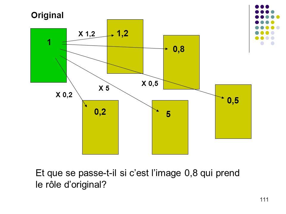 111 Original 1 1,2 0,8 0,5 5 0,2 Et que se passe-t-il si cest limage 0,8 qui prend le rôle doriginal? X 1,2 X 0,2 X 5 X 0,5