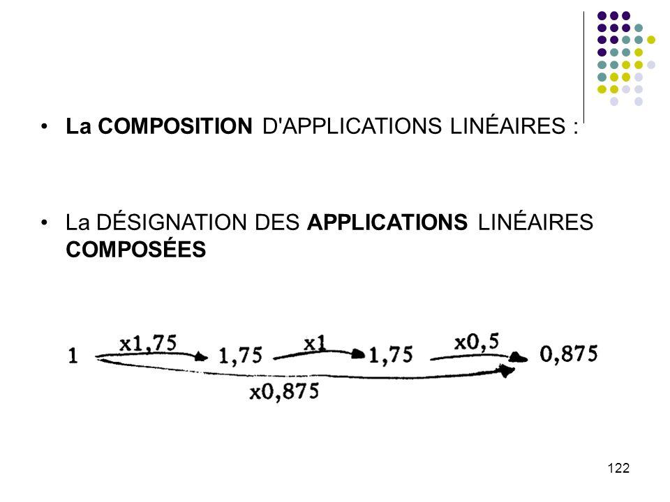 122 La COMPOSITION D'APPLICATIONS LINÉAIRES : La DÉSIGNATION DES APPLICATIONS LINÉAIRES COMPOSÉES