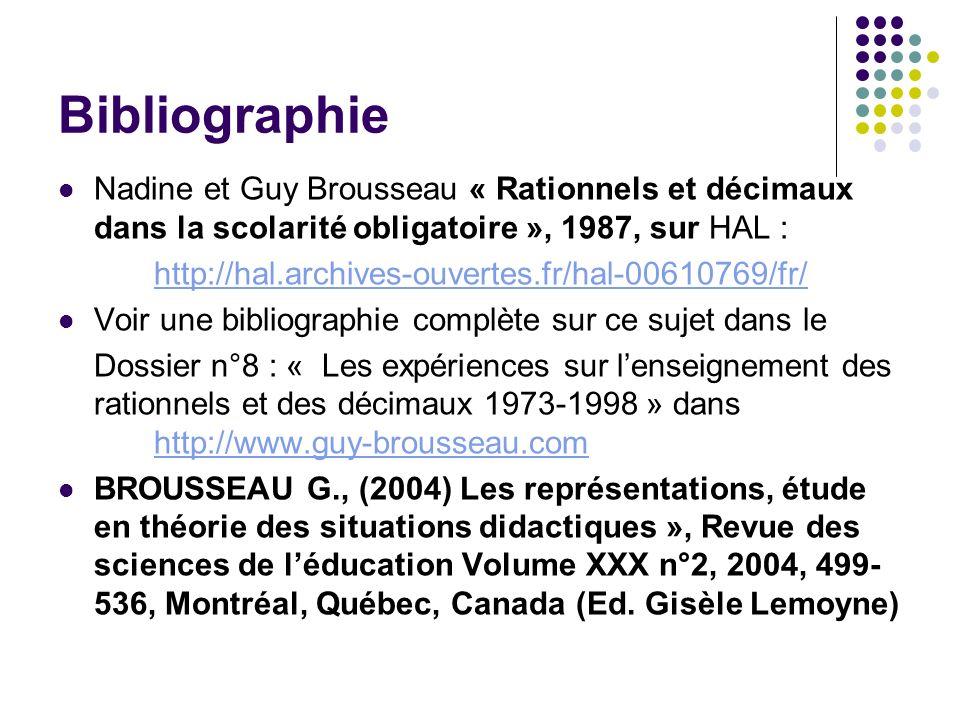 Bibliographie Nadine et Guy Brousseau « Rationnels et décimaux dans la scolarité obligatoire », 1987, sur HAL : http://hal.archives-ouvertes.fr/hal-00