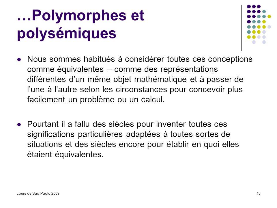 cours de Sao Paolo 200918 …Polymorphes et polysémiques Nous sommes habitués à considérer toutes ces conceptions comme équivalentes – comme des représe