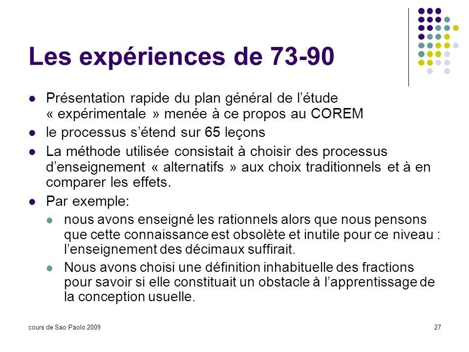cours de Sao Paolo 200927 Les expériences de 73-90 Présentation rapide du plan général de létude « expérimentale » menée à ce propos au COREM le proce