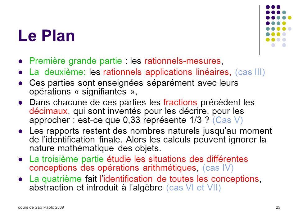 cours de Sao Paolo 200929 Le Plan Première grande partie : les rationnels-mesures, La deuxième: les rationnels applications linéaires, (cas III) Ces p