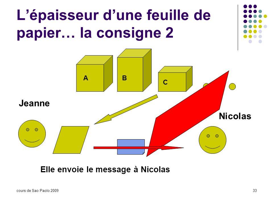 cours de Sao Paolo 200933 Lépaisseur dune feuille de papier… la consigne 2 Jeanne Nicolas Elle envoie le message à Nicolas AB C