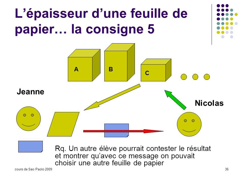 cours de Sao Paolo 200936 Lépaisseur dune feuille de papier… la consigne 5 Jeanne Nicolas AB C Rq. Un autre élève pourrait contester le résultat et mo