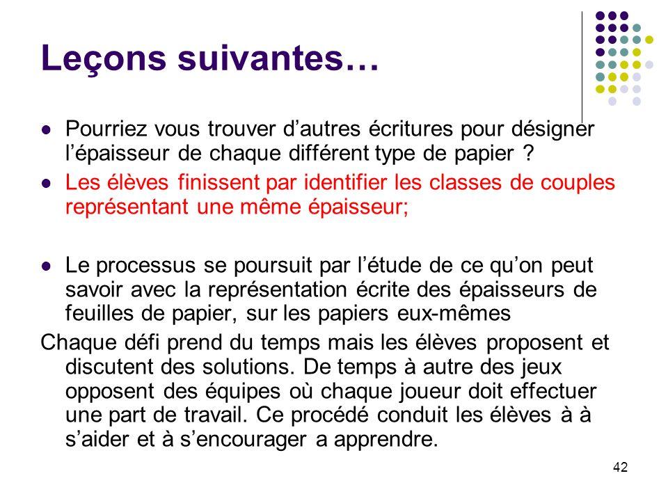 42 Leçons suivantes… Pourriez vous trouver dautres écritures pour désigner lépaisseur de chaque différent type de papier ? Les élèves finissent par id