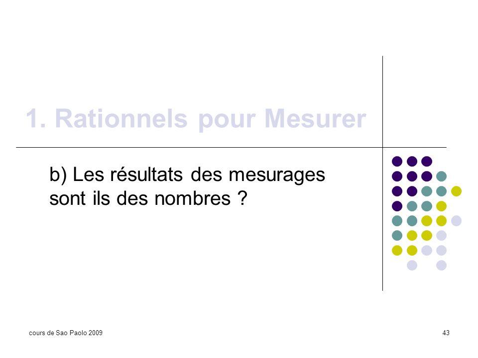 cours de Sao Paolo 200943 1. Rationnels pour Mesurer b) Les résultats des mesurages sont ils des nombres ?
