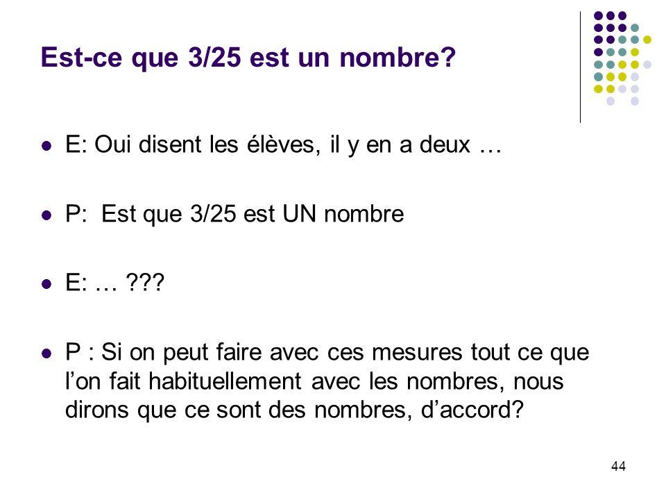 44 Est-ce que 3/25 est un nombre? E: Oui disent les élèves, il y en a deux … P: Est que 3/25 est UN nombre E: … ??? P : Si on peut faire avec ces mesu