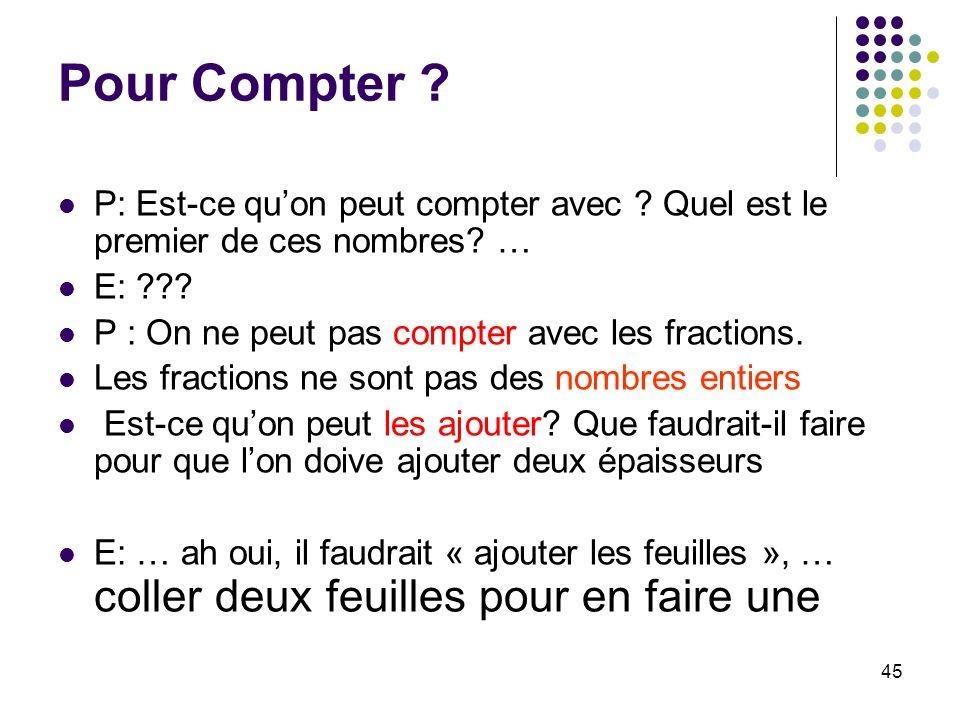 45 Pour Compter ? P: Est-ce quon peut compter avec ? Quel est le premier de ces nombres? … E: ??? P : On ne peut pas compter avec les fractions. Les f