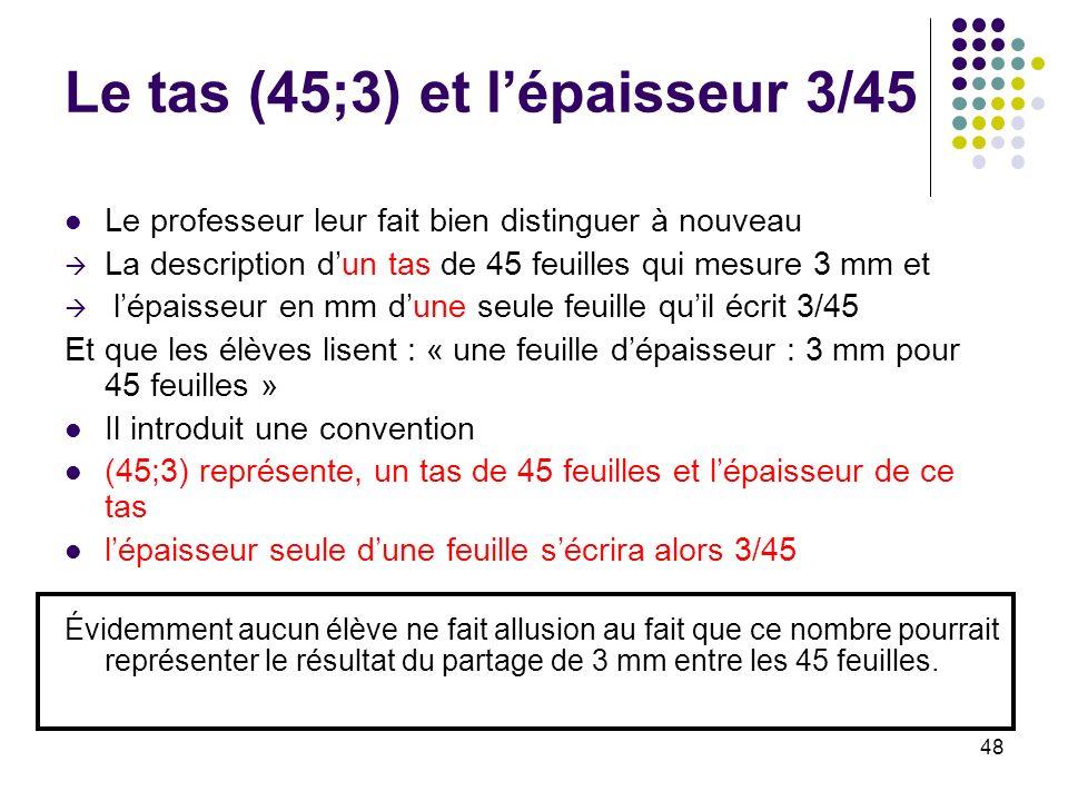 48 Le tas (45;3) et lépaisseur 3/45 Le professeur leur fait bien distinguer à nouveau La description dun tas de 45 feuilles qui mesure 3 mm et lépaiss